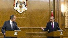 Министр иностранных дел РФ Сергей Лавров и министр иностранных дел Иордании Айман Сафади во время совместной пресс-конференции. 11 сентября 2017