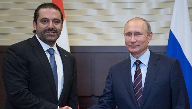 Президент РФ Владимир Путин и председатель Совета министров Ливанской Республики Саад Харири во время встречи. 13 сентября 2017