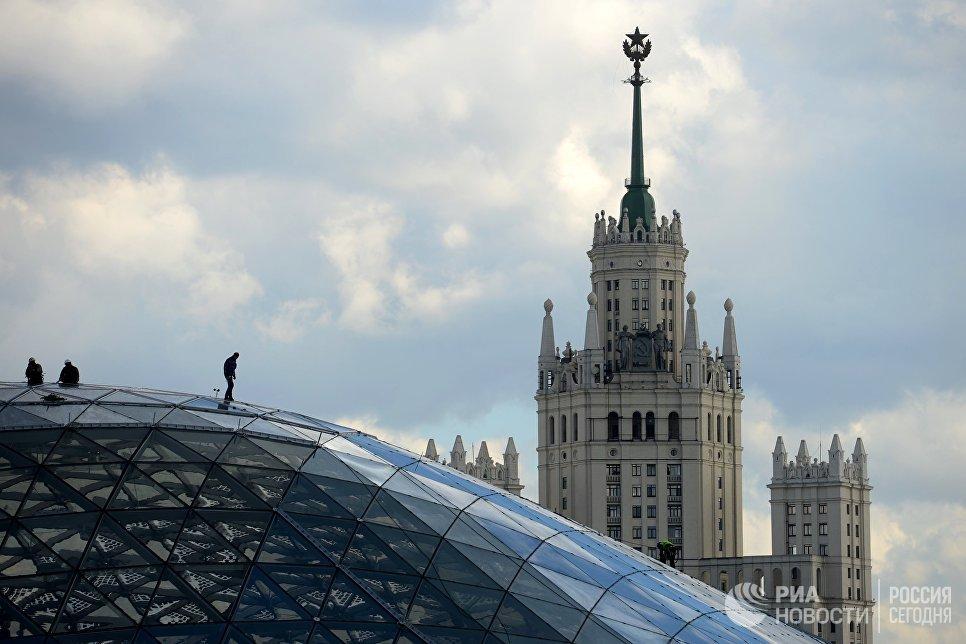Стеклянная кора в природно-ландшафтном парке Зарядье в Москве