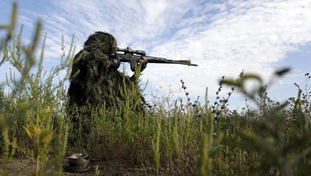 Украинский снайпер в Луганской области. Архивное фото