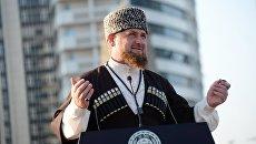 Глава Чеченской Республики Рамзан Кадыров выступает во время открытия парка цветов у высотного комплекса Грозный сити в Грозном