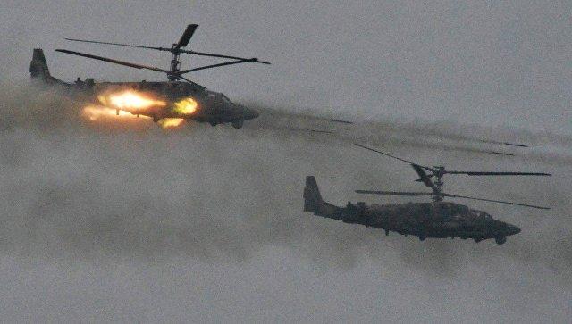 Вертолёты Ка-52 Аллигатор во время совместных стратегических учений (ССУ) вооружённых сил России и Белоруссии на Лужском полигоне в Ленинградской области. Архивное фото