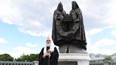 Освящение памятника Воссоединение у храма Христа Спасителя в Москве