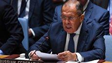 Глава МИД РФ Сергей Лавров на на заседании Генеральной Ассамблеи ООН в Нью-Йорке. 20 сентября 2017