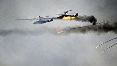 Вертолеты Ка-52 во время совместных стратегических учений вооруженных сил Республики Белоруссия и Российской Федерации Запад-2017