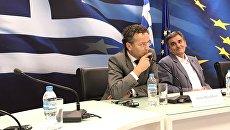 Пресс-конференция председателя Еврогруппы Йеруна Дейсселблума в Афинах