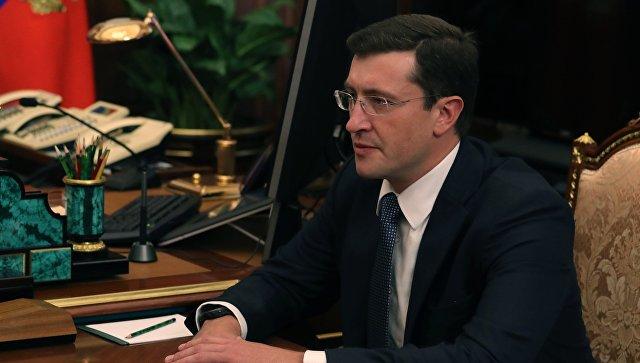 Временно исполняющий обязанности губернатора Нижегородской области Глеб Никитин во время встречи с президентом РФ Владимиром Путиным. 26 сентября 2017