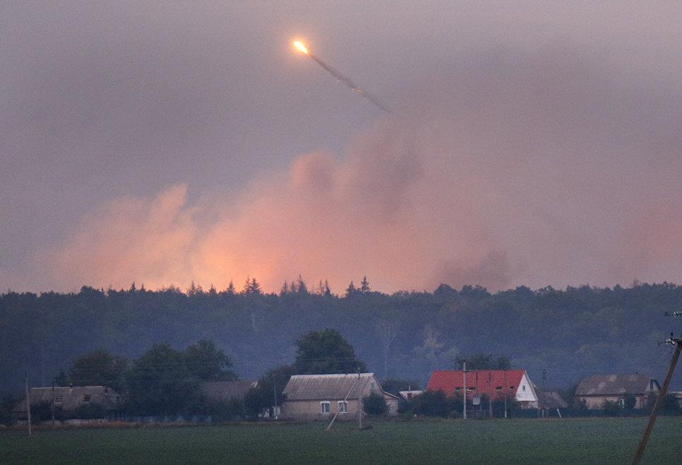 Пожар на военной базе в городе Калиновка в Винницкой области. 27 сентября 2017