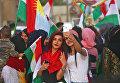 Сирийские курды на митинге в поддержку референдума о независимости Иракского Курдистана.