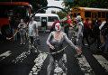 Студенты вышли на антиправительственную акцию в Сальвадоре.
