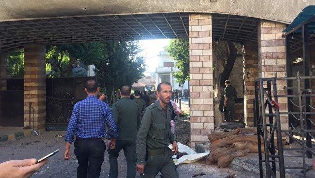 На месте взрыва в Дамаске, Сирия. 11 октября 2017