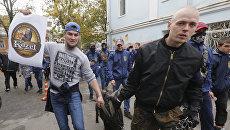 Акция протеста активистов политической партии Национальный корпус против заявления чешского президента Милоша Земана о компенсации за Крым. 12 октября 2017