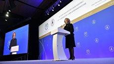Валентина Матвиенко выступает на церемонии открытия 137-й Ассамблеи МПС в конгрессно-выставочном центре Экспофорум в Санкт-Петербурге. 14 октября 2017