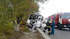 Водитель автобуса врезался в столб в Красноармейском районе. 20 октября 2017