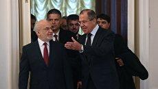 Министр иностранных дел РФ Сергей Лавров и министр иностранных дел Республики Ирак Ибрагим аль-Джаафари во время встречи в Москве. 23 октября 2017