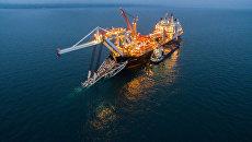 Судно-трубоукладчик Audacia во время строительства морского газопровода Турецкий поток