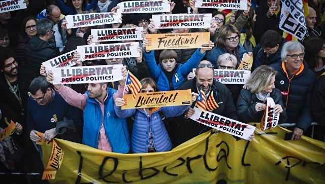 Митинг в защиту независимости Каталонии в Барселоне