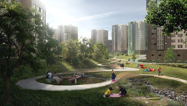 Проект линейного парка между жилым комплексом Скандинавия и домами пятой очереди ЖК Москва А101