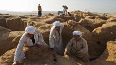 Рабочие в процессе зачистки раскопа в некрополе Дер Эль Банат в Фаюмском оазисе Египта, где была найдена мумия с позолоченной картонажной маской в ходе археологических исследований, проводимых Центром Египтологических исследований Российской Академии наук. Архивное фото