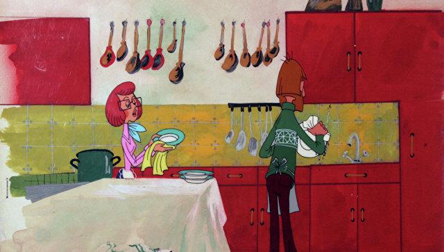 Набросок сцены из мультфильма Трое из Простоквашино. Архивное фото