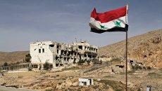 Сирийский флаг на фоне разрушенного дома в сирийском городе Маалюля