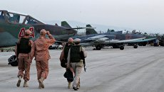 Аэропорт Хмеймим в Сирии, где базируются российские самолеты. Архивное фото