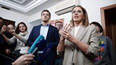 Телеведущая Ксения Собчак на открытии своего предвыборного штаба в Санкт-Петербурге. 2 декабря 2017