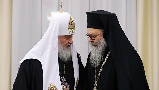Патриарх Московский и всея Руси Кирилл и патриарх Антиохийский и всего Востока Иоанн Х. 4 декабря 2017