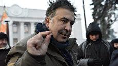 Михаил Саакашвили у здания Верховной рады в Киеве. Архивное фото