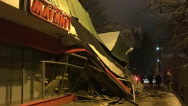 Обрушение стены магазина при ремонтных работах в Домодедово