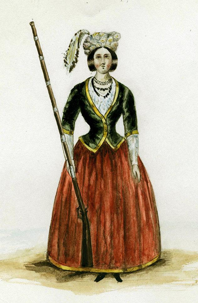 Амазонка в форме образца 1787 года. Обмундирование было заимствованно у офицеров второго батальона Греческого пехотного полка. Рисунок второй половины XIX века