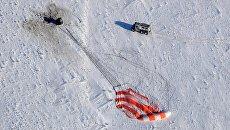 Посадка спускаемого аппарата ТПК Союз МС-05 с международным экипажем длительных экспедиций МКС-52/53. 14 декабря 2017