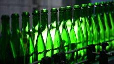 Работа линии по производству шампанского