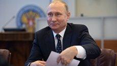 Президент РФ Владимир Путин в ЦИК во время подачи документов для выдвижения кандидатом на предстоящих в 2018 году выборах президента РФ. 27 декабря 2017