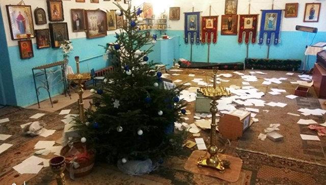 Оскверненный Свято-Покровский храм в городе Черноморск. 10 января 2018