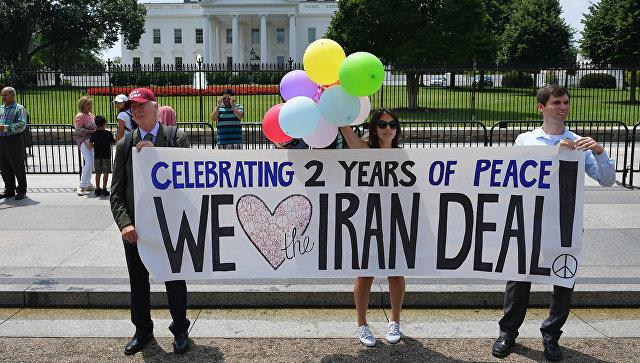 Митинг, посвященный ядерному соглашению с Ираном перед зданием Белого дома