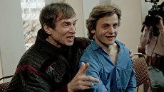Рудольф Нуреев и Михаил Барышников на пресс-конференции в Нью-Йорке