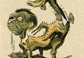 Почтовая карточка Цепные фашистские собаки (Геббельс). Художник и автор текста В.А. Гальба. Издательство Искусство, типография ЛТ УН-9, 1943 г.