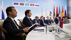Дмитрий Медведев во время очередного заседания Евразийского межправительственного совета в расширенном составе. 2 февраля 2018