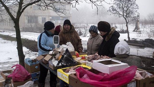 Жители поселка Ясное Донецкой области. 3 февраля 2018