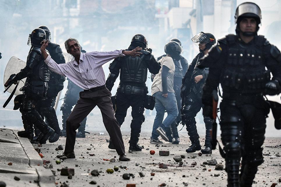Акция протеста в Юмбо, Колумбия