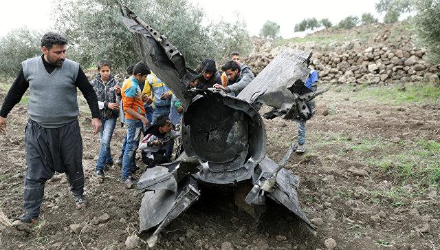 Обломки ракеты в Кунейтре, Сирия. 10 февраля 2018