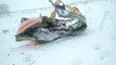 Видео с места падения пассажирского самолета Ан-148 в Подмосковье