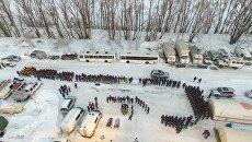 Сотрудники МЧС России на месте крушения самолета Ан-148 Саратовских авиалиний рейса 703 Москва-Орск. 12 февраля 2018