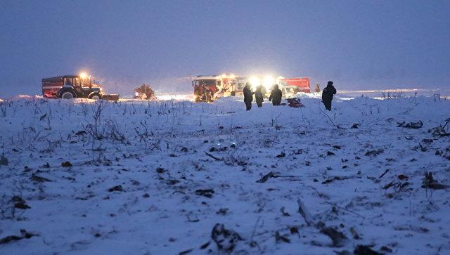 Сотрудники МЧС России на месте крушения самолета Ан-148 в Раменском районе Московской области