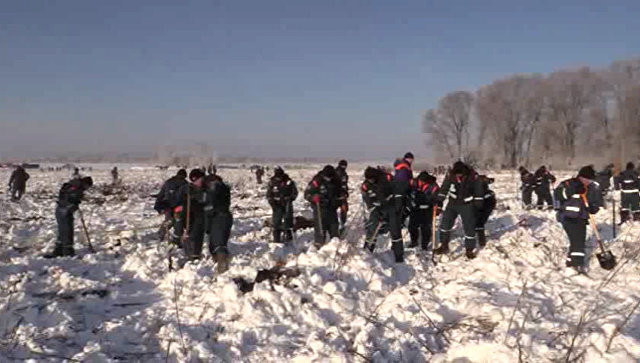 Сотрудники МЧС России в Раменском районе Московской области, где самолет Ан-148 Саратовских авиалиний рейса 703 потерпел крушение. 14 февраля 2018
