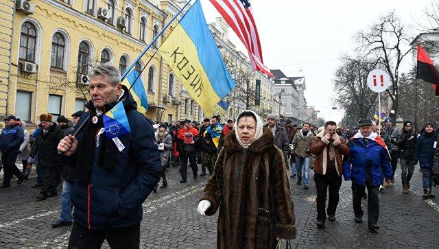 Марш сторонников Михаила Саакашвили в Киеве с требованием отставки действующего президента Украины Петра Порошенко. 18 февраля 2018