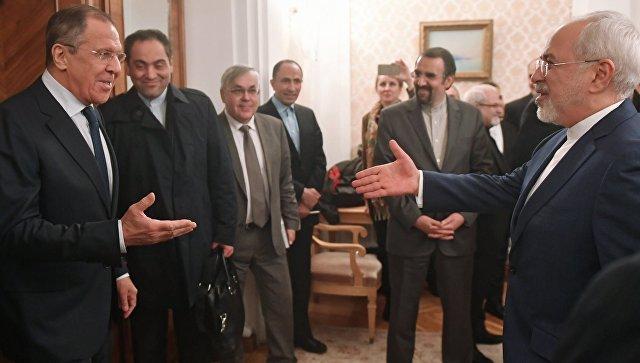 Министр иностранных дел России Сергей Лавров и министр иностранных дел Исламской Республики Иран Мухаммад Джавад Зариф на встрече в Москве. 19 февраля 2018