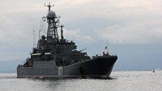 Большой десантный корабль (БДК) Пересвет Тихоокеанского флота. Архивное фото