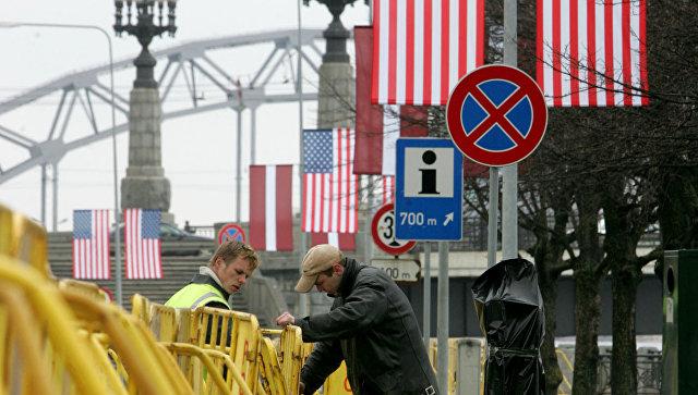 Флаги США в Риге
